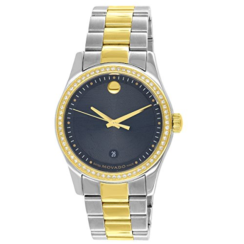 Movado Watch 2 Tone Gold & Silver 1CT Genuine Diamond Studded Quartz Movement Analog display