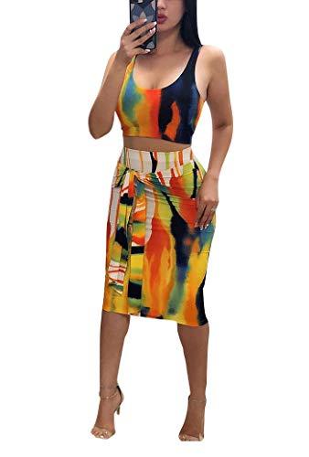 Remelon Womens Sexy Sleeveless Stripe Tie Dye Print Tank Crop Top Bodycon Tie Skirts Set 2 Piece Midi Dress Outfits Yellow XL