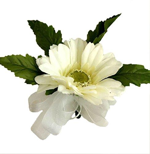 Ivory Silk Daisy Corsage - Wedding Corsage ()