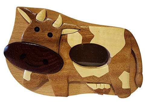 Handmade Cow Wooden Money Box Piggy Bank (4781) (Money Box Cow)