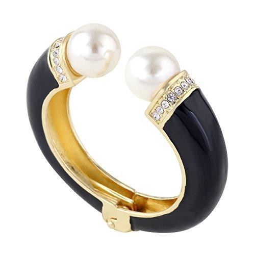 (KAYMEN FASHION JEWELLERY Opened Double Pearl Cuff Bracelet 18K Gold Plated Enamel Novelty Bangle)