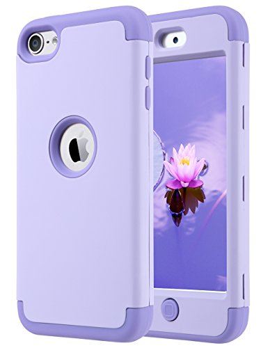 ULAK iPod Touch 7 Case, iPod Touch Case 6th Generation, iPod 5 Case, Heavy Duty High Impact Knox Armor Case Cover Protective Case for Apple iPod Touch 5th/6th/7th Generation (2019), Purple (Ipod 5 6th Generation Cases)