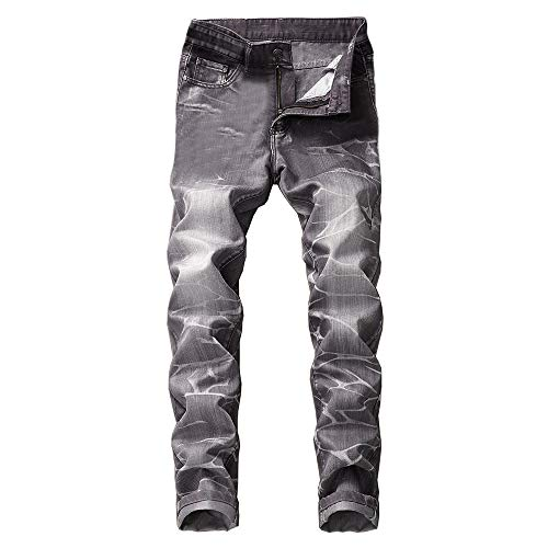 (Creazrise Slim Fit Jeans, Men's Younger-Looking Fashionable Colorful Super Comfy Stretch Skinny Fit Denim Jeans Gray)