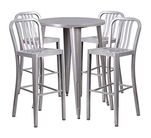 Wood & Style Furniture 30'' Round Silver Metal Indoor-Outdoor Bar Table Set with 4 Vertical Slat Back Stools Home Bar Pub Café Office Commercial