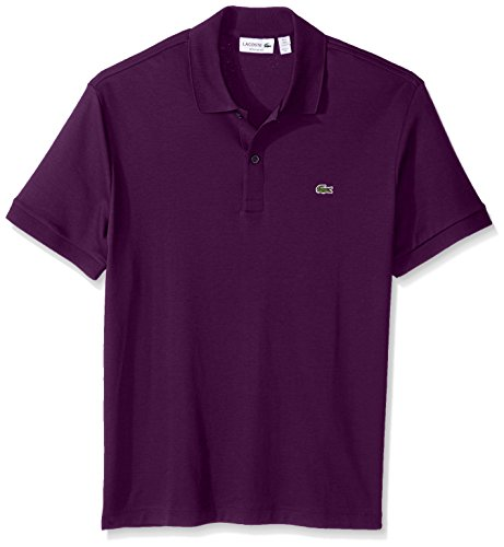 Blu Ribbed Jersey (Lacoste Men's Short Sleeve Jersey Interlock Regular Woven Shirt, Cossak Purple, 6)