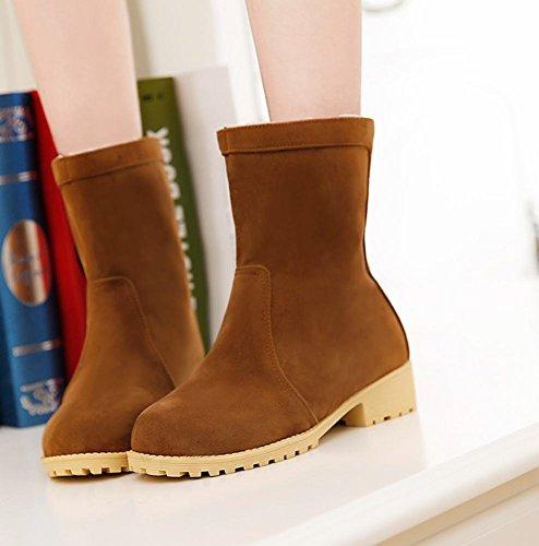 Mee Shoes Damen chunky heels Plateau Nubukleder halbschaft Stiefel Gelb