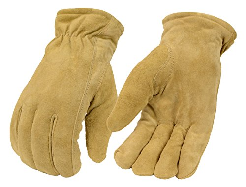 Men's Sand Color Thermal Lined Gloves Made in USA Deer Suede (X-Large)