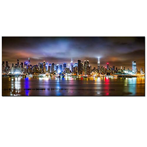 sechars - New York City Canvas Wall Art Manhattan Skyline Panorama on Cloudy Night Picture Giclee Art Print Modern Home Office Wall Decoration Stretched Canvas Ready to Hang