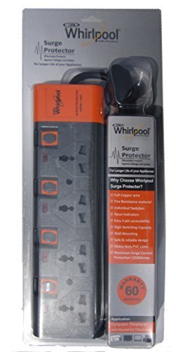 whirlpool 4 sockets 6 amp surge protector black wsp46 14897 rh amazon in