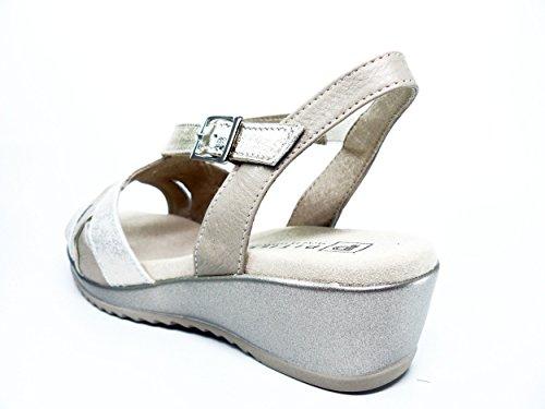 Sandalias mujer marca PITILLOS piel combi color oro - 1014 - 567