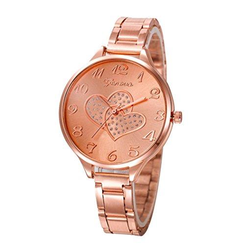 Watch,XUANOU Women Double Heart Pattern Dial Crystal Stainless Steel Analog Quartz Wrist Watch Bracele (Rose Gold) (Cold Heart Steel)
