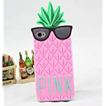 Big Mango Superior Quality 3D Cute Pineapple with Black Glasses Design Soft Silicone Gel Protective Case Cover for Apple iPhone 4 4s 4g Pink