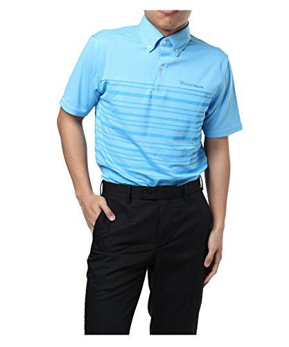 ツアーディビジョン メンズ ゴルフウェア ポロシャツ 半袖 胸切替ボーダー TD220101H01 SBL L