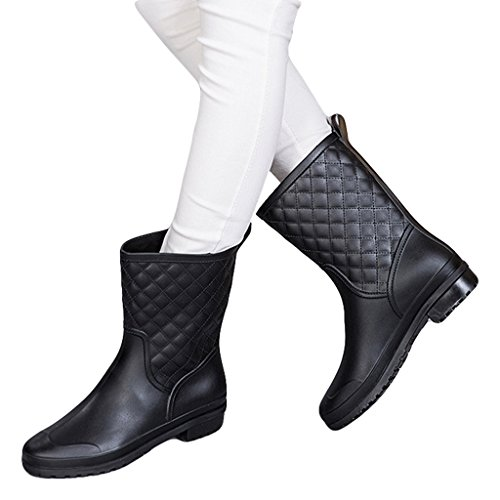- Dear Time Women Quilted Styles Rain Boots US 9 Black
