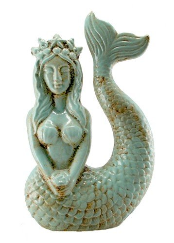 World Buyers Mermaid Statue Antique Aqua Blue 6.5x3.5x10.5 H (Mermaid Statues Small)
