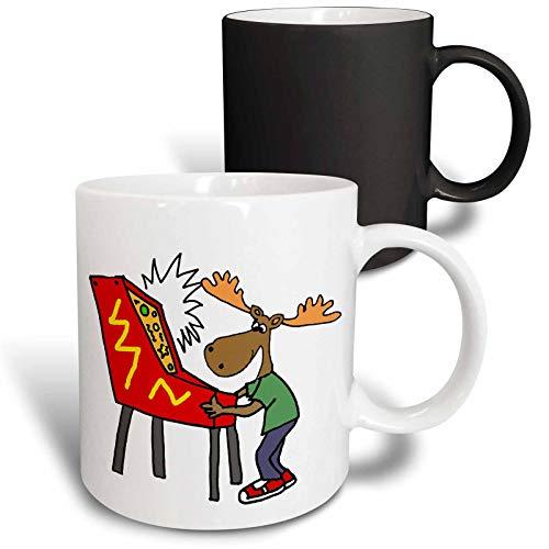3dRose All Smiles Art Sports and Hobbies - Funny Moose Playing Pinball Game Cartoon - 11oz Magic Transforming Mug (mug_288044_3)