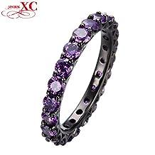Cherryn Jewelry Elegant Amethyst Zircon Stone Ring Black Gold Filled Romantic Jewelry Wedding Promise Ring Bridal RB0111