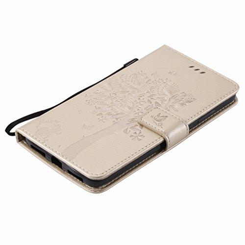 Yiizy Huawei Mate 9 Custodia Cover, Alberi Disegno Design Sottile Flip Portafoglio PU Pelle Cuoio Copertura Shell Case Slot Schede Cavalletto Stile Libro Bumper Protettivo Borsa (Dorato)