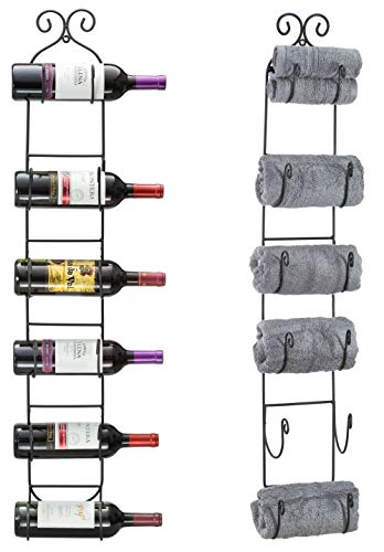 - Sorbus Wall Mount Wine/Towel Rack (Holds 6 Bottles)