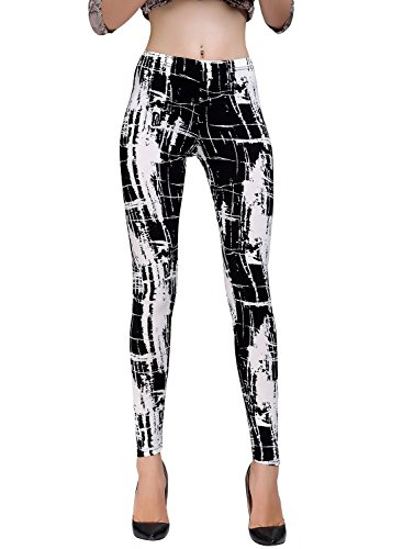 Women's Lovely Stylish Cartoon Character Scrawl Pattern Printed Slim Leggings (Medium, VQ369) (Cartoons Characters)