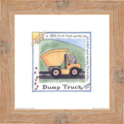 Poster Palooza Framed Dump Truck- 8x8 Inches - Art Print (Natural Knotty Frame)