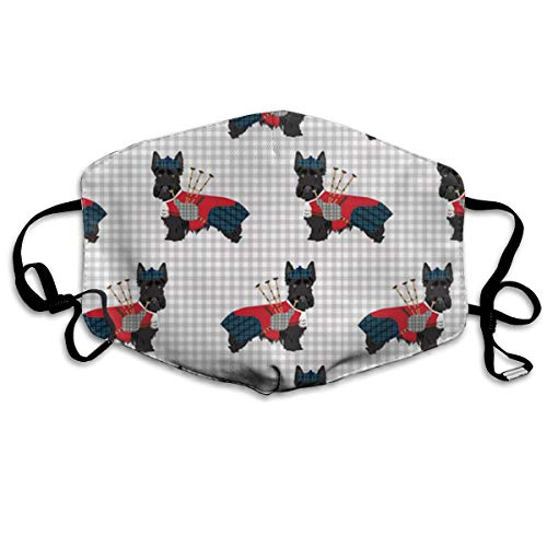 Mouth Mask Earloop Face Masks Premium Polyester Breathable Mask - Scottie Dog with Bagpipes Adjustable Elastic Band Windproof Mouth-Muffle, Reusable & Washable, Anti -