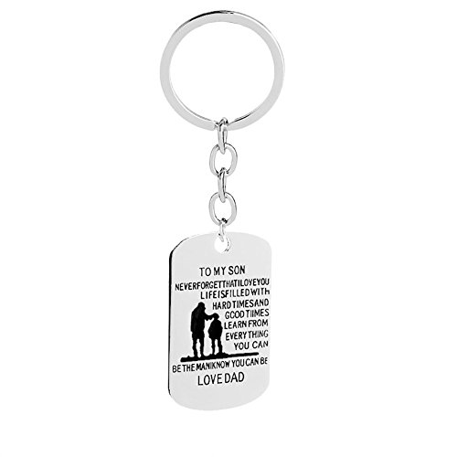 Love Dream To My Son Never Forget That I Love You Hand Stamped Quote Words Dog Tag Pendant Necklace Keychain Father Gift Son (To My Son On His 18th Birthday)