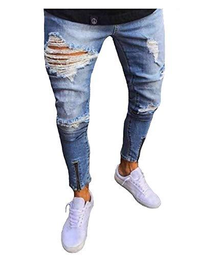 Hombres Rasgados Vaqueros Destruidos Pantalones Slim Fit De De Los Pantalones Retro Los Jeans Pantalones Jeans Colour Ropa Hombres De Moda Sw1UYnqx