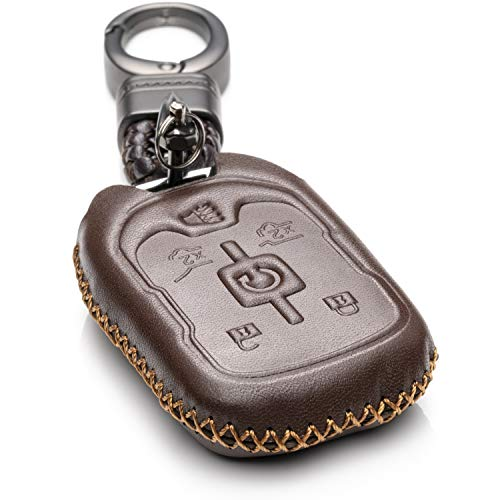 - Vitodeco Genuine Leather Smart Key Fob Case Cover Protector with Leather Key Chain for 2015-2019 GMC Yukon, Yukon XL, Yukon Denali (6-Button, Brown)