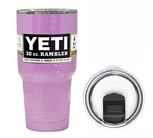 YETI Coolers 30 Ounce (30oz) (30 oz) Custom Rambler Tumbler Cup Mug Bundle with New Magslider Lid (Lavender Glitter)
