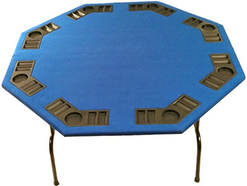 Blue Texas Poker Table - XL Blue Felt Folding Octagon Poker Table For Texas Holdem, Cards And Game. Extra Large 60