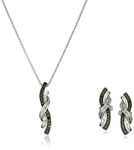 Sterling Silver Black and White Diamond Pendant and Earrings Box Set (1/6 cttw), (Black & White Diamond Pendant)