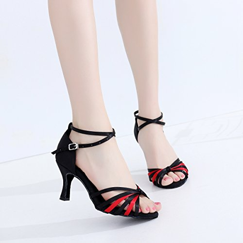 Minitoo - salón mujer Black/Red-7.5cm Heel