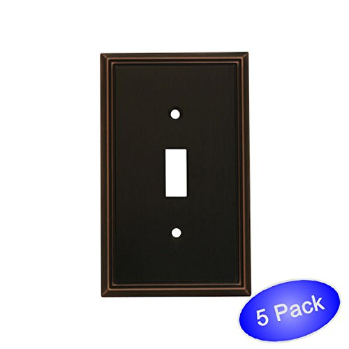 Cosmas 65003-ORB Oil Rubbed Bronze Single Toggle Switch Plate Switchplate Cover - 5 Pack (Bronze Venetian Switchplate)