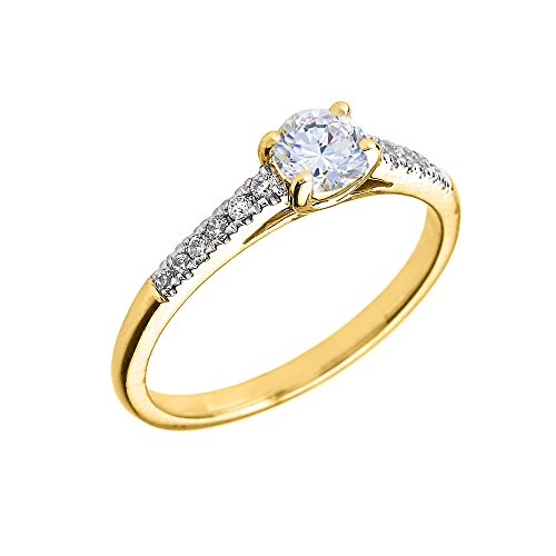 10K Yellow Gold Diamond and Genuine White Topaz Engagement Proposal Ring (Size 8)