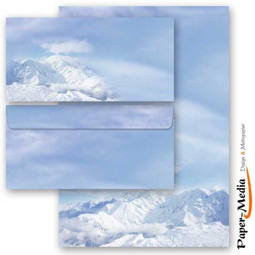 senza finestra 10 fogli di carta da lettera e 10 buste DIN LANG Cancelleria di Inverno MONTAGNE IN NEVE 20 pezzi