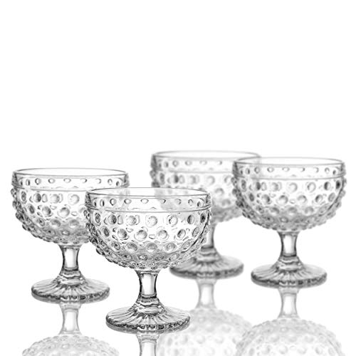 Elle Decor 229804-4PB Bistro Dot Pedestal Bowls, 4.3