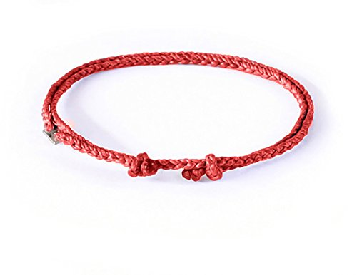 Wakami Single Strand Bracelet Anklet Handmade Adjustable Friendship Bracelets or Anklets :: Make Your Own :: Buy 3 Get 1 Free (Red)