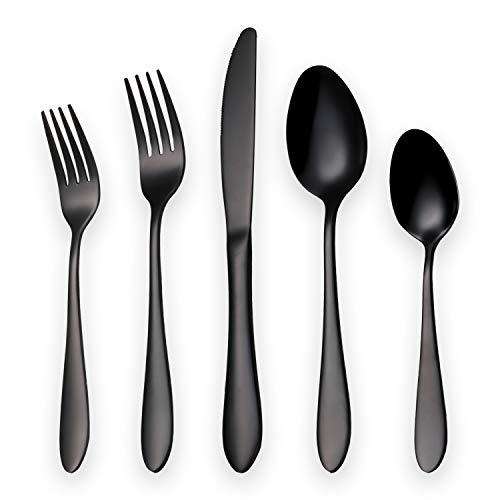 20 Piece Flatware Silverware Set, 5 Piece Serving Set, 6 Piece Steak Knives Set