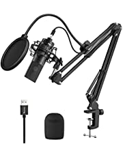 Fifine USB Streaming Microphone Kit, Condenser Studio Mic with Arm Stand & Pop Filter for Podcast Vocal Recording Singing YouTube Gaming Voice Over, Directional Computer Mic for PC iMac Laptop-K780A