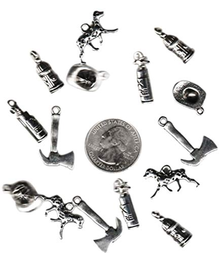 15 Mix Silver Tone Metal FIRE Fighter OR Fireman Charms Jewelry Making Supply Charms by Wholesale Charms -