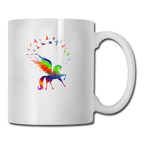 - Pegasus Concept of Inspiration Rainbow Color Mug New Custom Coffee Cup Teacup White Porcelain Cup,Suitable for Home, Office Use-17 Ounces