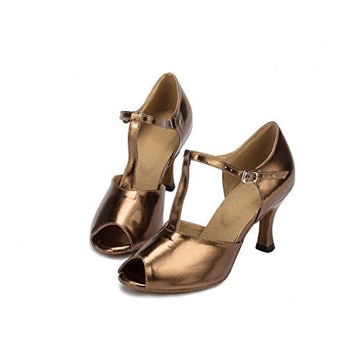 Minishion Mujeres Th051 Cómoda Correa En T Pleather Wedding Ballroom Latin Taogo Dance Sandalias Dorado