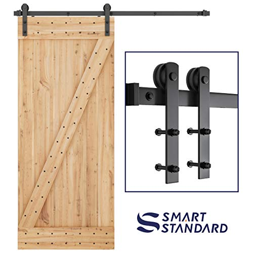 SMARTSTANDARD 6ft Heavy Duty Sturdy Sliding Barn Door Hardware Kit -Smoothly and Quietly -Easy to Install -Includes Step-by-Step Installation Instruction Fit 36″ Wide Door Panel (I Shape Hanger)