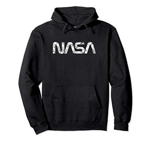Official NASA Worm Logo White Hoodie Sweatshirt Distressed