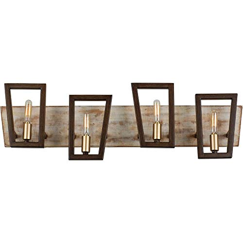 Varaluz 260B04DO Zag Bath Vanity, 4 Light, Dark Oak ()