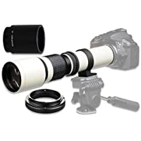 500mm f/8 Manual Telephoto Lens for Canon EOS 80D, 70D, 60D, 60Da, 50D, 40D, 30D, 1Ds, Mark III II, 7D, 6D, 5D, 5DS, Rebel T6s, T6i, T6, T5i, T5, T4i, T3i, T3, SL1 Digital SLR Cameras - White