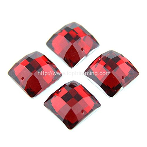 Resin Stone Square Shape Flat Back Sew on or Glue On Red Selling Per Pack/240 pcspcs by TOP TRIMMING