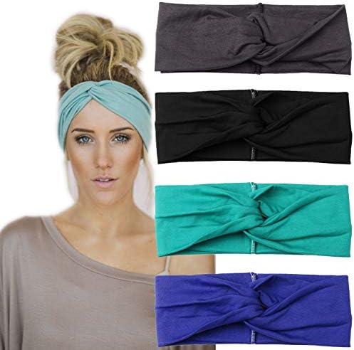 Women Wide Elastic Turban Head Wraps HeadBands Boho Sports Yoga Hair Bands Multi