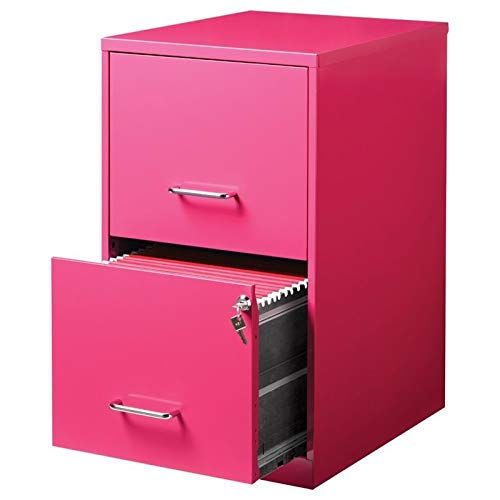 Office Dimensions 18'' Deep 2 Drawer Metal File Cabinet, Pink by Office Dimensions